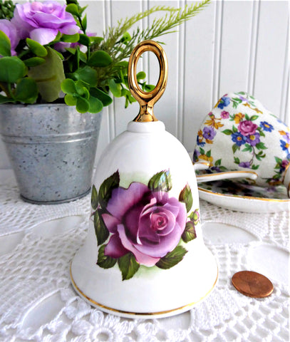 Blue Moon Rose Hostess Bell England Purple Violet Rose 1970s Bone China Danbury