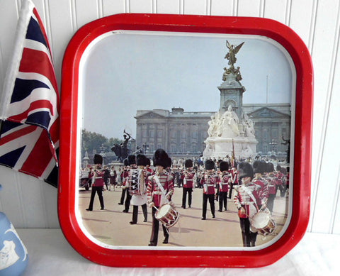 Tin Serving Tray Metal Buckingham Palace Bands Queen's Guards 1970s Souvenir