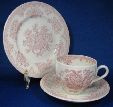 Teaset Asiatic Pheasants Pink Transfer Burleigh 1970s 2 Teacup Trios Teapot Cream And Sugar
