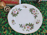 Christmas Roses Holly English Bone China Plate Salad Plate Luncheon Plate 1970s