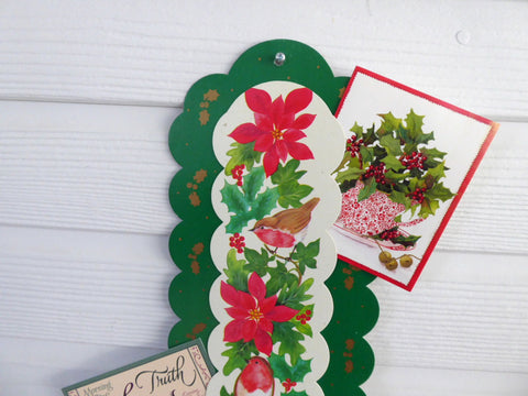 Christmas Card Holder Long Card Display English Robins Poinsettias Holly 1970s