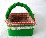 Christmas Fabric Basket 1970s Christmas Hand Made Display Decorative Holiday Christmas Tea