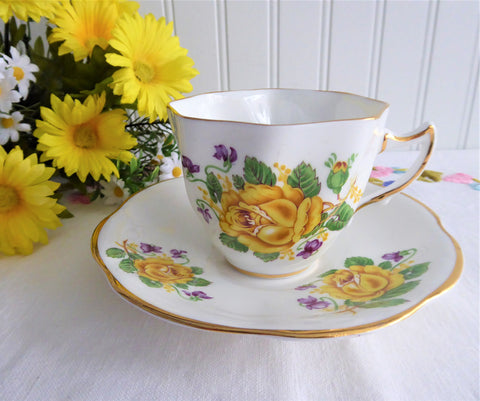 Violets Yellow Roses Teacups English Bone China Clare Vintage 1970s