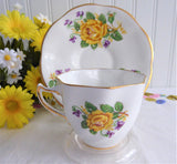 Violets Yellow Roses Teacup English Bone China Clare Vintage 1970s
