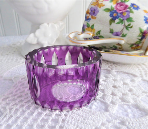 Napkin Ring Purple Cased Glass Cut To Clear Oval 1970s Czech Bohemia