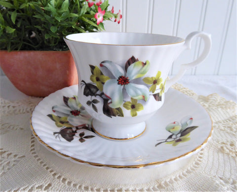 Spring Dogwood Blossoms 1970s Cup And Saucer Royal Windsor  Bone China