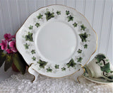 Cake Serving Plate Duchess Ivy England 1970s Sandwich Bone China Green Leaves