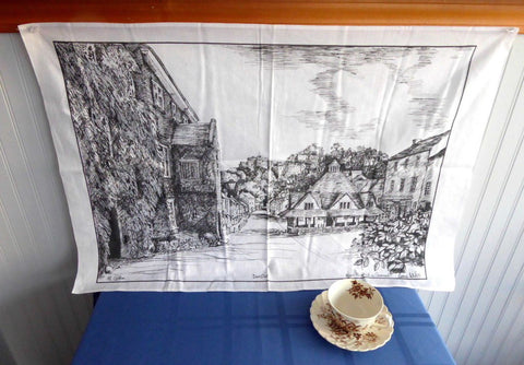 English Tea Towel Cornish Village Dunster Artist Printed Black On White City View 1970s