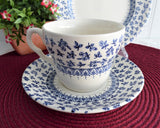 Blue Provence Chintz Cup And Saucer With Plate Blue Transferware Ironstone EIT 1970s