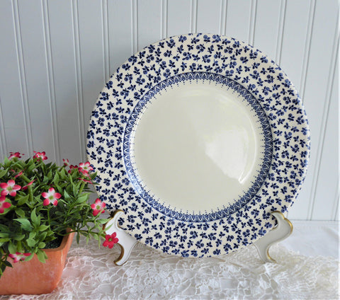 Blue Provence Dinner Plate Floral Chintz Border EIT 1970s Transferware Ironstone Plate