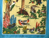 Garden Birds Of Britain Tea Towel Sparrow Woodpecker Robin Dish Towel 1970s