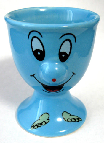 Egg Cup Bright Blue English Pedestal Funny Face 1970s Comic Mid Century