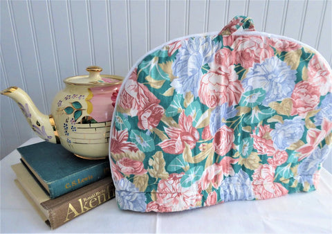 Tea Cozy Padded Teal Blue Peach Floral Large England 1970s