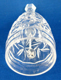 Faceted Crystal Bell Pinwheel Pattern English 1970s Vintage Sunburst Pressed Glass