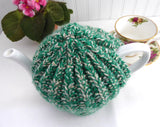 Variegated Medium English Tea Cozy Green Tan Cosy Knitted Stretchy 1970s Tea Cosy