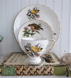 Goldfinch Audubon Birds Teacup Trio Royal Tuscan 1970s  Bird Lovers Tea Party