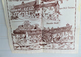 English Tea Towel Hamble Village Hampshire Brown On White Village Landmarks 1970s