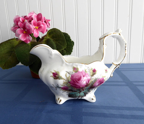 Hammersley England Creamer Milk Jug Cream Pitcher Grandmother's Rose Bone China 1970s