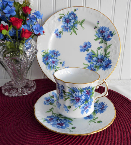 Hammersley England Blue Cornflowers Teacup Trio Gold Bone China 1970s Bachelors Buttons