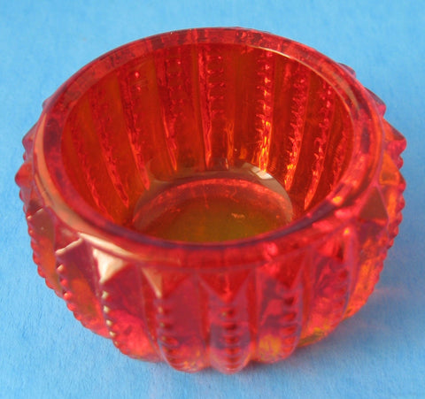 Amberina Glass Salt Cellar Imperial Glass Zipper Open Salt Dip 1970s
