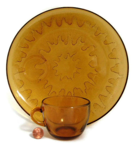 Tea And Toast Sets 4 Indiana Amber Sunburst 4 Plates 4 Cups 1970s Snack Set
