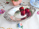 Silver Candy Dish International Orleans Oval Bon Bon 1950s Fancy Floral Silverplate
