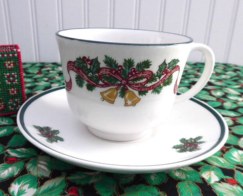 Cup And Saucer Johnson Brothers Victorian Christmas Holiday Bells Ribbons Pine