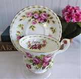 June Pink Roses Cup And Saucer Royal Albert Flower Of The Month 1970s