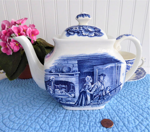 Liberty Blue Minutemen Scene Teapot 1970s-Blue Transferware England 42 Ounces