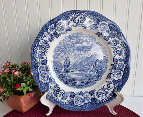 Lochs Of Scotland Blue Transferware Dinner Plate Royal Warwick England Scottish Landscape 1970s