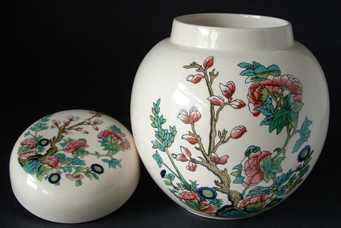 Tea Caddy Masons Indian Tree Pattern Ginger Jar 1970s Tea Canister Peony Tree