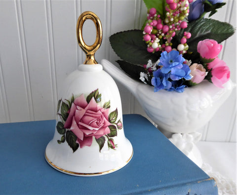 Pink Mischief Rose Hostess Bell England 1970s English Bone China Danbury