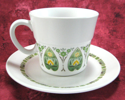 Cup And Saucer Noritake Palos Verde Progression Porcelain 1969-1979 Yellow Green