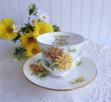October Chrysanthemums Cup And Saucer Elizabethan England 1970s Bone China