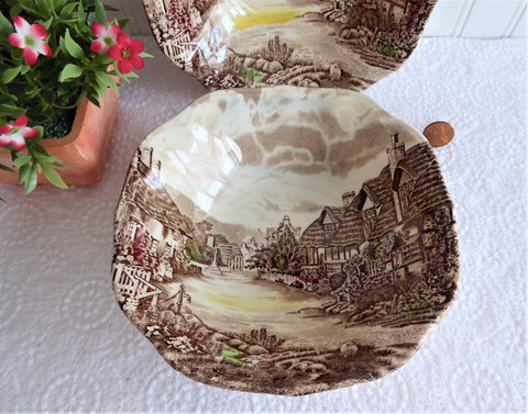 Johnson Brothers Olde English Countryside 2 Brown Transferware Square Bowls Cereal