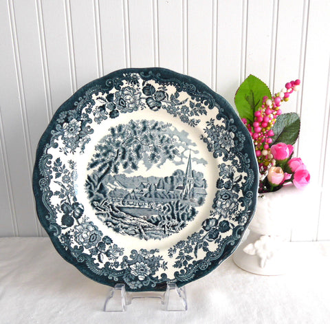 Palissy Avon Scenes Teal Transferware England 1970s Ironstone Stratford 9.75 Inches
