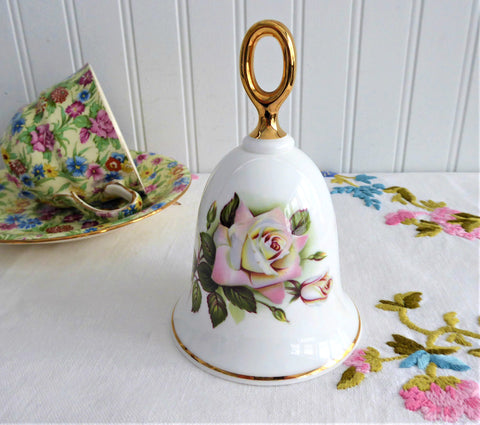 Pink Pascali Rose Hostess Bell England 1970s Bone China 22kt Gold Danbury Mint