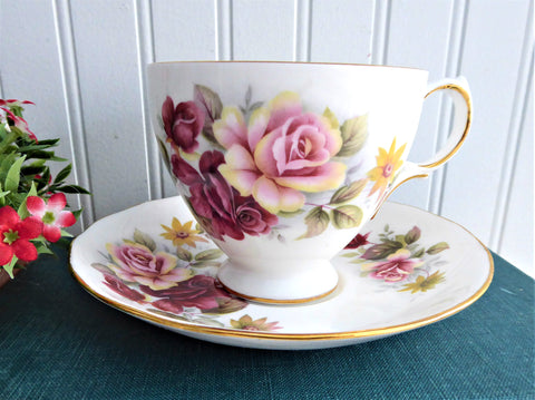 Pink Maroon Roses Queen Anne English Bone China Cup And Saucer 1960s