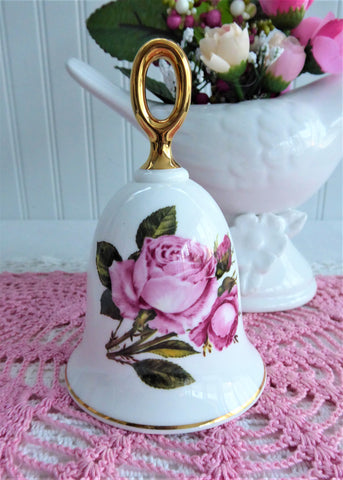 Hostess Bell Queen Elizabeth Pink Rose England 1970s Bone China Danbury Dinner Bell