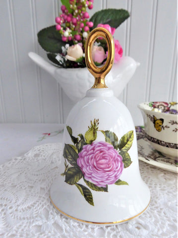 Bell Mauve Reine Des Violettes Rose Hostess Bell England Violet Rose 1970s Bone China Danbury