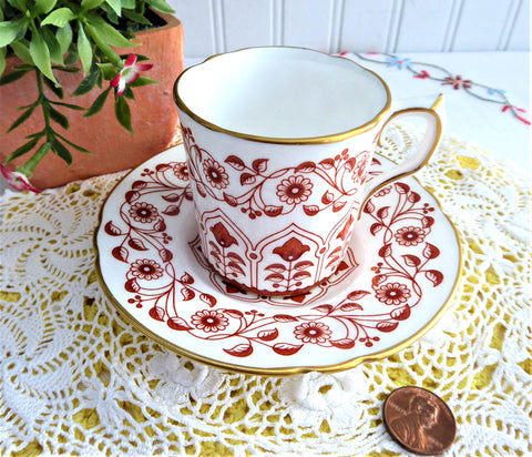 Rougemont Cup And Saucer Royal Crown Derby 1970s Demitasse Charming Red White