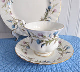 Royal Albert Brigadoon Teacup Trio Pink Blue Thistles Gold Trim 1970s Bone China