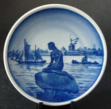 Little Mermaid  Butter Pat Teabag Caddy Royal Copenhagen 1970s Blue And White