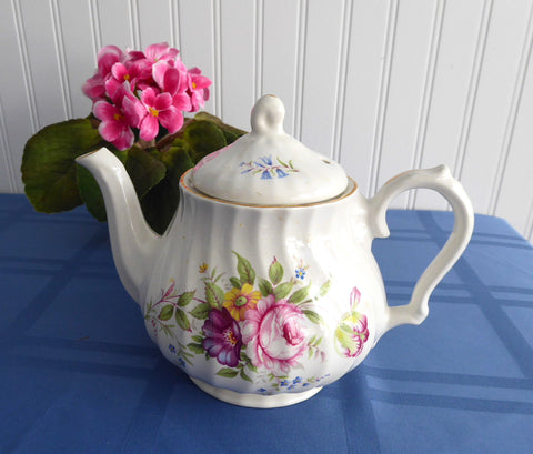 Teapot England Bone China Floral Molded Swirl Tea Pot Vintage 1960s Royal Park