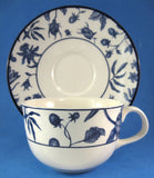 Blue Transferware 1970s Cup And Saucer Royal Stafford Blue Strawberry Vines Earthenware