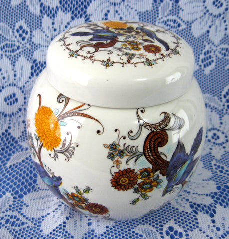 Sadler Ginger Jar Tea Caddy Fancy Birds Pattern 1970s Ceramic Canister