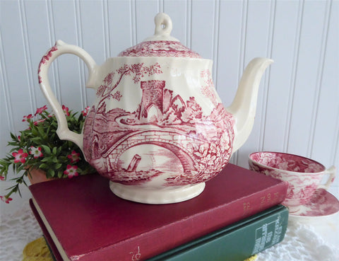 Sadler Teapot Brigadoon Red Transferware 1970s Afternoon Tea Large Landscape