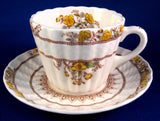 Spode England Buttercup Cream Ware Cup And Saucer Maroon Transfer 1970s