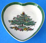 Heart Shape Spode Christmas Tree Dish Green Trim Ironstone Holiday Teabag Caddy