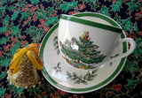 Christmas Tree Spode Cup And Saucer Green Trim Made In England 1970s